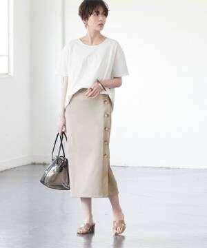 [titivate] デザイン釦ラップスカート