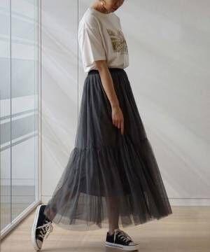 [GeeRA] 【WEB限定】チュールティアードスカート