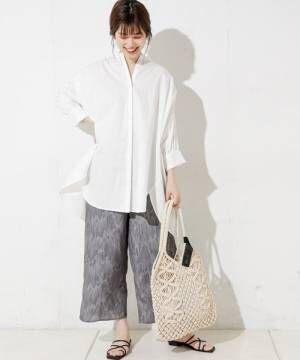 [natural couture] アートフェザー柄ピンタックパンツ