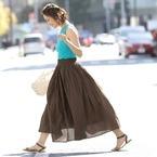 ロングスカートが主役♪涼しくておしゃれな夏のきれいめカジュアル