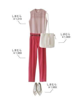 ピンクのワントーンでフェミニンなパンツスタイル