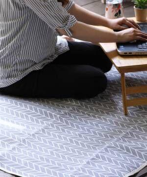 [SPICE OF LIFE] リネン折りたたみピクニックマット/レジャーシート 148×130cm