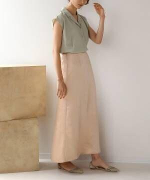 [Bou Jeloud] ヴィンテージサテンストレートスカート/シャイニーサテンエアリーマキシロングスカート