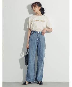 [Re:EDIT] [UVカット][抗菌防臭][お家で洗える]クルーネックフロントロゴTシャツ
