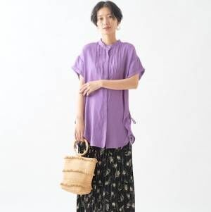 バンドカラーシャツ&ブラウスコーデ15選♡旬のデザインで品良くおしゃれ