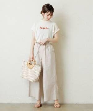 [natural couture] リネン混イージーワイドパンツ