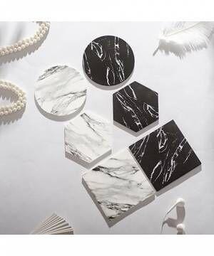 [RiNc] 【ART OF BLACK】大理石柄PVC コースター