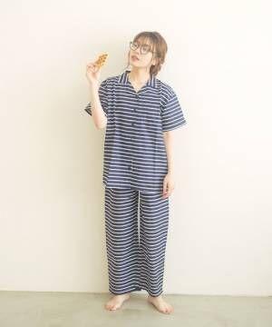 [Dita] シーチングボーダーシャツルームウェア上下セット/全3色 パジャマ