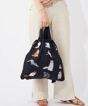[ear PAPILLONNER] (web限定カラー:ネイビー)猫刺繍巾着トートバッグ