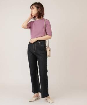 [natural couture] UV&接触冷感プチハイきれいめニット
