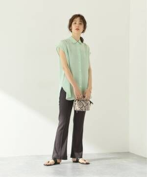 [JOURNAL STANDARD] サテンフレンチスリーブシャツ