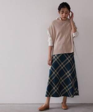 [ViS] 【WEB限定Lサイズ】ハイウエストチェックフレアスカート