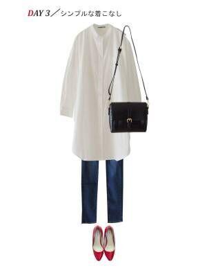 【3日目】白のシャツワンピースでシンプルな着こなし