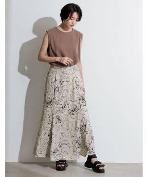 [Re:EDIT] [お家で洗える][低身長向け/高身長向けサイズ対応]花柄ロングハイウエストナロースカート