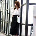 秋のフェミニンなオフィスカジュアル♪おすすめのスカートコーデ