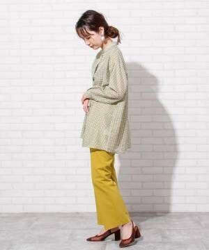 [coen] シアーギンガムロングシャツ(バンドカラーシャツ)