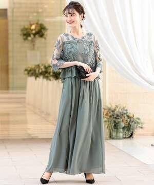[kana] 刺繍レース切り替え セットアップパンツドレス / 結婚式ワンピース・お呼ばれパーティードレス