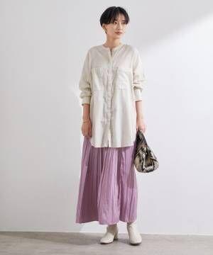 [ADAM ET ROPE'] 【ZOZO限定】サテンギャザースカート