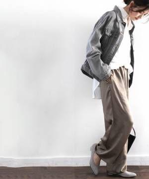 [Classical Elf] ウエストゴム ワイドフレア無地サテンパンツ(フルレングス)