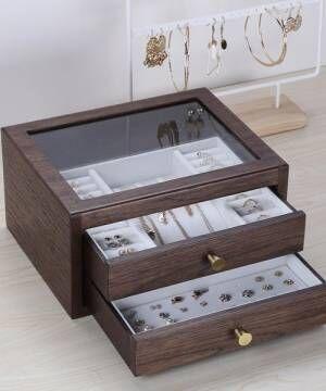 [aimoha] アクセサリー木製大容量収納ボックス