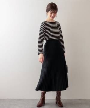 [natural couture] プリーツニットスカート