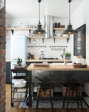 小回りの利くカフェ風キッチンインテリア