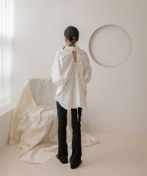 [UNE MANSION] 20AW_バックストリングオーバーシルエットシャツ