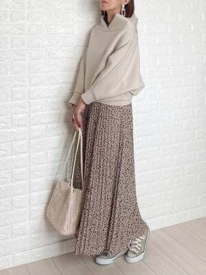 GUのレオパード柄プリーツスカート