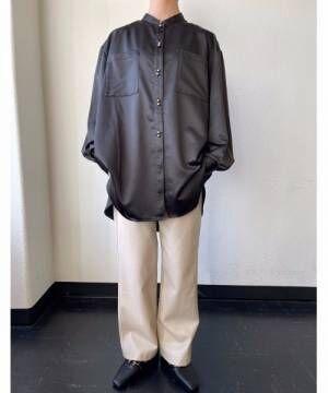 [Auntie Rosa] レザータッチダブルボタンダブルポケットシャツ13