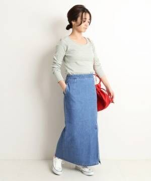LE DENIM タイトスリットスカート【洗濯機使用可能】◆