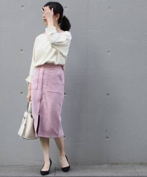 [再入荷][洗える]カットスエードライクタイトスカート【Sサイズ有・大きいサイズ対応】