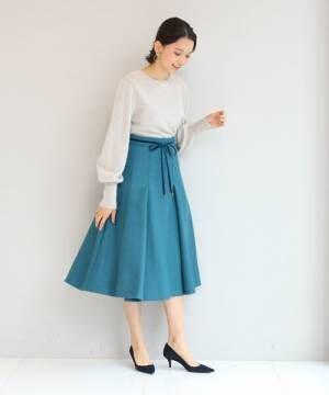 【SS-Lサイズあり】リボンベルト付きタックフレアースカート