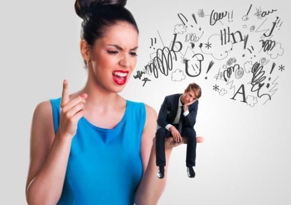Woman yelling at a man