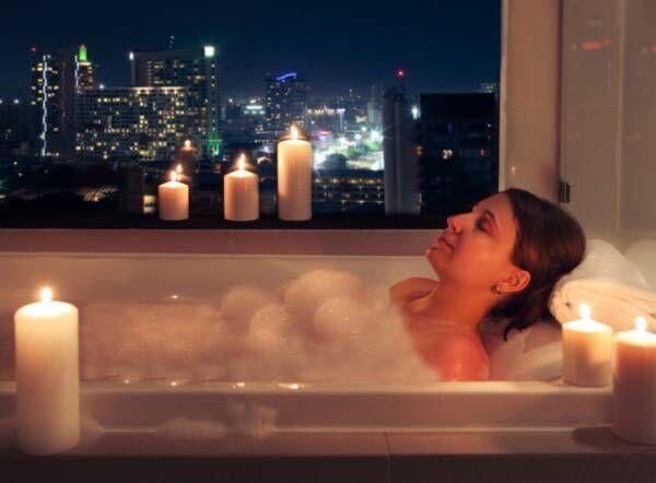 キャンドルでロマンチックな雰囲気に