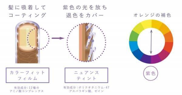 紫色の光で日本人特有のオレンジ味を打ち消す
