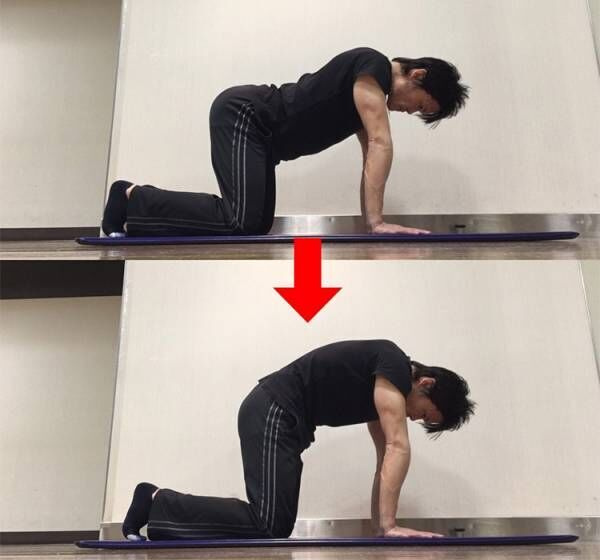骨盤後傾方向への動きを高めるストレッチ