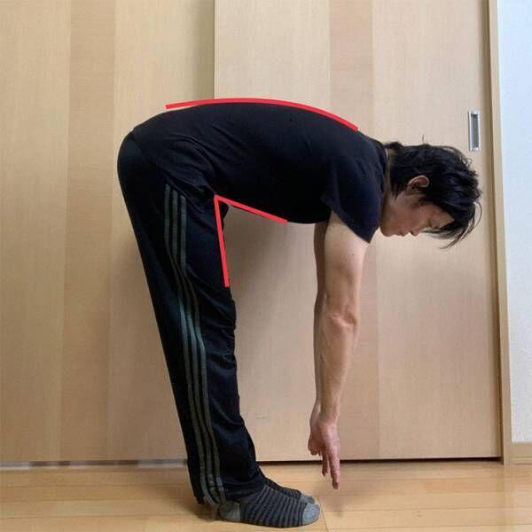 股関節の屈曲動作が大きく、背中の弯曲がほとんどない