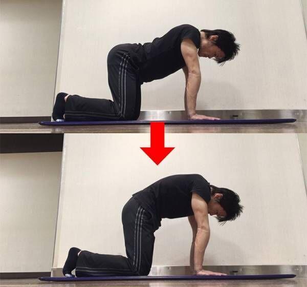 骨盤後傾方向への動きを高める動的ストレッチ