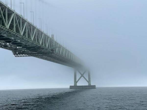 「すごいことになってる」 濃霧の中、明石海峡大橋を撮影すると?