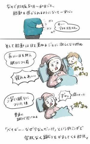 妊娠中の胎動を例えると… 母親の描いた漫画に、反響 「笑った」「めっちゃ分かる」