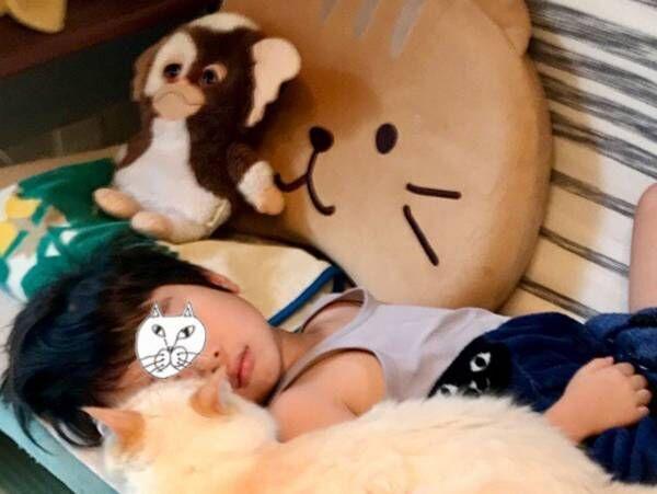 「落ちたら大変」 ソファで眠る子供に寄り添っていたのは?