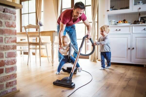 パパ, 夫, 父, 子供, 家事, 掃除,