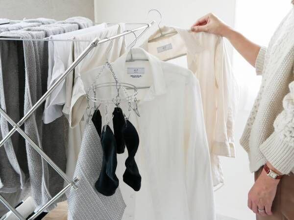 洗濯物を効率的に干すことができるコンパクトなタワー型室内物干し[PR]