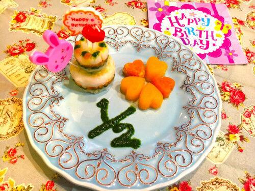 ハーフバースデーに!「野菜ピューレで作る2段ケーキ」離乳食初期  #05