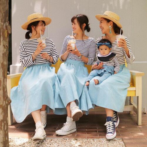 ママ友同士で楽しむ!大人可愛い♡「スカートリンクコーデ」4選