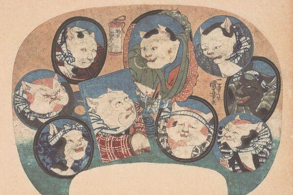 (写真:歌川国芳「猫の百めんそう」1841年頃)