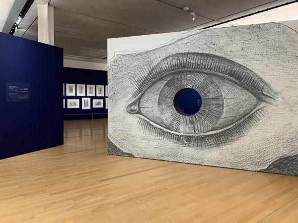 会場風景。手前の大きな目は、マックス・エルンスト『博物誌』第29図《光の車輪》を大きく引き伸ばしたもの。目の中央は穴が開いており、中の展示風景を覗けるようになっている。