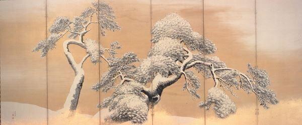 国宝 雪松図屏風(左隻) 円山応挙筆 6曲1双 江戸時代 北三井家旧蔵