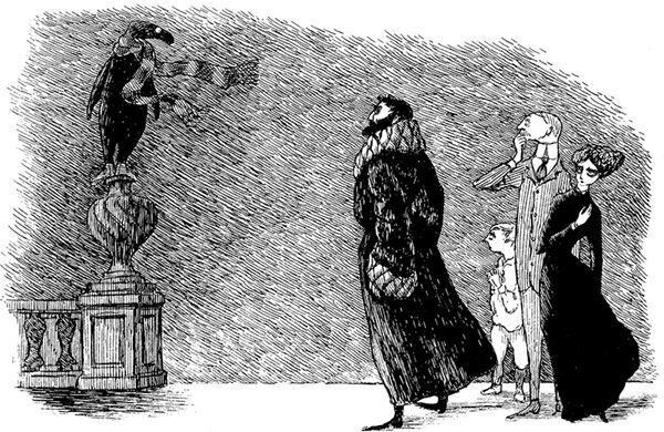 《うろんな客》1957年挿絵・原画ペン・インク・紙エドワード・ゴーリー公益信託 (c)2010 The Edward Gorey Charitable Trust