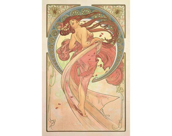 アルフォンス・ミュシャ 《舞踏―連作〈四芸術〉より》 1898年 カラーリトグラフ ミュシャ財団蔵 (c)Mucha Trust 2019
